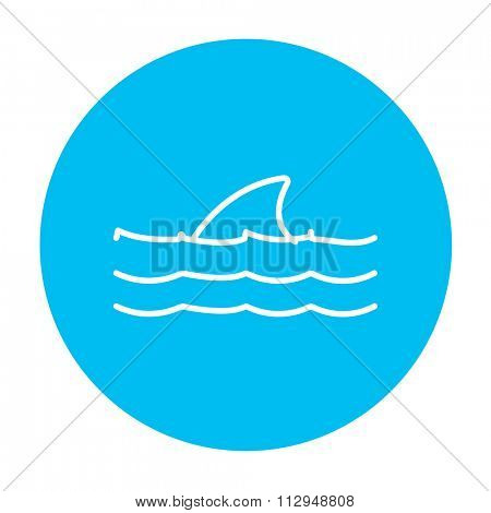 Dorsal shark fin above water line icon for web, mobile and infographics. Vector white icon on the light blue circle isolated on white background.