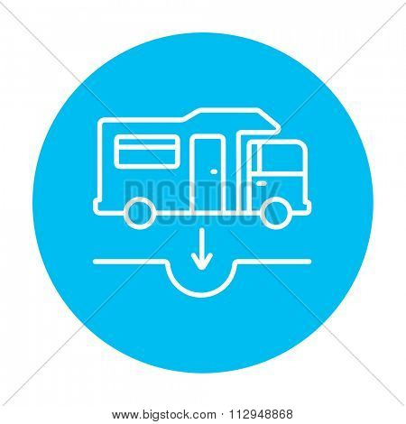 Motorhome and sump line icon for web, mobile and infographics. Vector white icon on the light blue circle isolated on white background.
