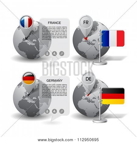 Gray globes with designation of Germany and France location, with map markers and state table flags. Vector illustration