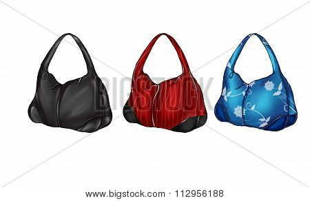 Illustration set of different colored hobo bags