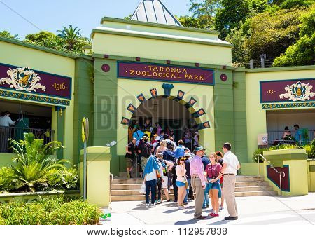 Line at the entrance at Taronga Zoo in Sydney, Australia