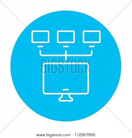 Group of monitors linked in a hierarchical network line icon for web, mobile and infographics. Vector white icon on the light blue circle isolated on white background.