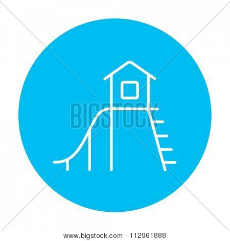Playhouse with slide line icon for web, mobile and infographics. Vector white icon on the light blue circle isolated on white background.