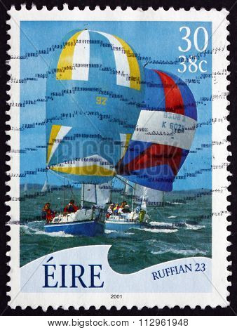 Postage Stamp Ireland 2001 Ruffian 23, Sailboat