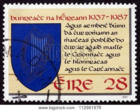 Postage Stamp Ireland 1987 Harp In Shield