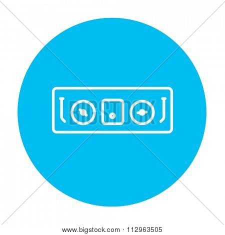 DJ console line icon for web, mobile and infographics. Vector white icon on the light blue circle isolated on white background.