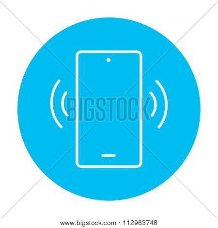 Vibrating phone line icon for web, mobile and infographics. Vector white icon on the light blue circle isolated on white background.