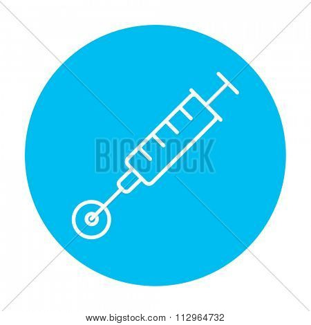 In vitro fertilisation line icon for web, mobile and infographics. Vector white icon on the light blue circle isolated on white background.