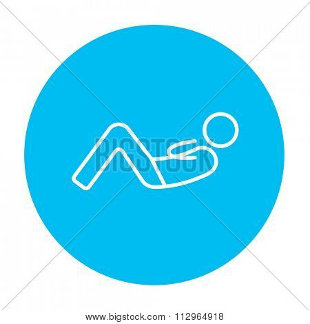 Man doing abdominal crunches line icon for web, mobile and infographics. Vector white icon on the light blue circle isolated on white background.