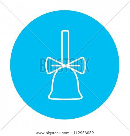 School bell with ribbon line icon for web, mobile and infographics. Vector white icon on the light blue circle isolated on white background.
