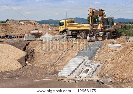 Construction of a rainwater retention basin