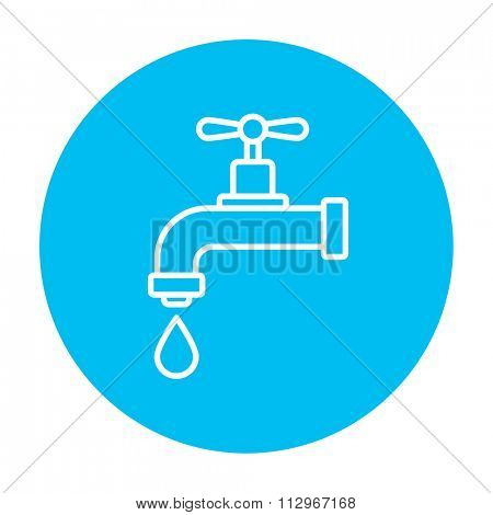 Dripping tap with drop line icon for web, mobile and infographics. Vector white icon on the light blue circle isolated on white background.