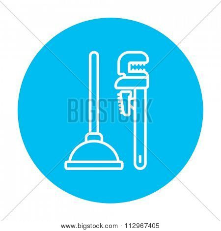 Pipe wrenches and plunger line icon for web, mobile and infographics. Vector white icon on the light blue circle isolated on white background.