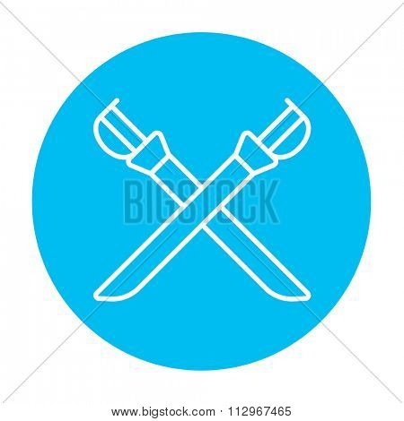 Crossed saber line icon for web, mobile and infographics. Vector white icon on the light blue circle isolated on white background.
