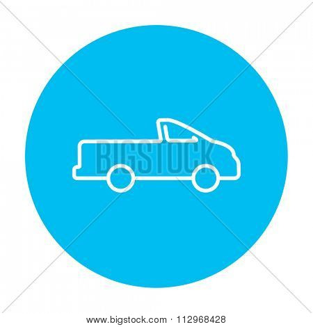 Pick up truck line icon for web, mobile and infographics. Vector white icon on the light blue circle isolated on white background.