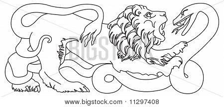Lion battling snake