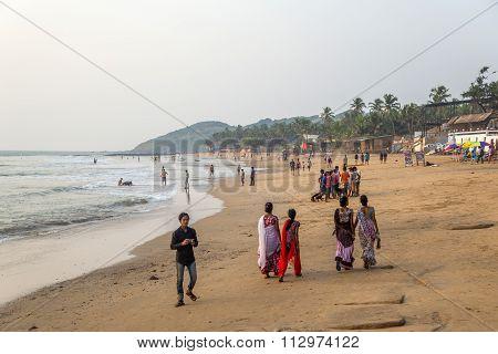People At Anjuna Beach In Goa, India