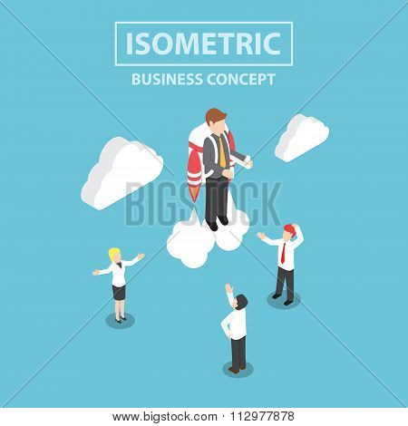 Isometric Businessman Flying With A Jetpack