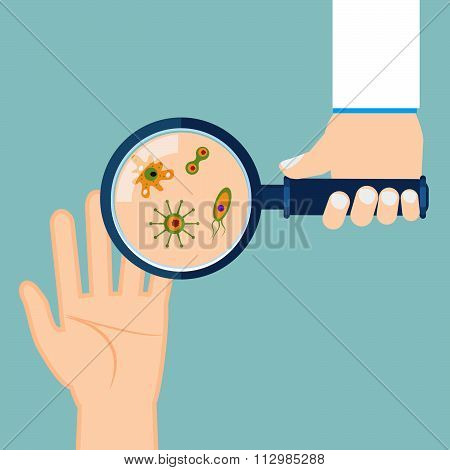 Magnifier And Bacteria On Human Palm