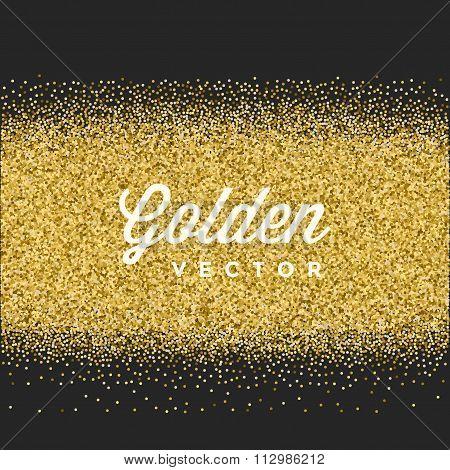 Gold Glitter Sparkles Bright Confetti Black Vector Background