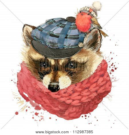 Cute raccoon T-shirt graphics, watercolor forest raccoon illustration