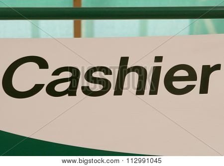 Cashier Sign Indoors, Indicating Location To Pay