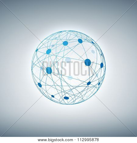 Sphere with connected dots and lines. Layered vector illustration.