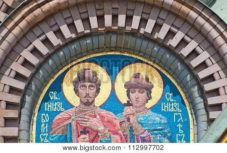 Saint-Petersburg. Russia. Mosaic with Boris and Gleb - russian saints