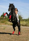 teenager and her black stallion. dangerous horse in field poster