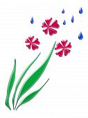 abstract art rain falling on spring flowers poster