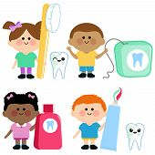 Vector illustration set of children using dental hygiene objects : toothbrush, toothpaste, dental floss, mouth wash, smiling with healthy teeth. poster