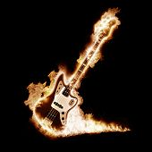 Electronic guitar enveloped flames on a black background poster
