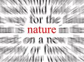 a conceptual image of blurred text with a focus on nature poster