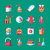Housekeeper cleaning service worker accessories and equipment flat icons set on green background abstract isolated vector illustration poster