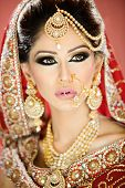 Portrait of a beautiful female model as a bride in traditional indian costume and jewellery poster