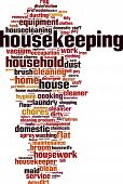Housekeeping word cloud concept. Vector illustration on white poster
