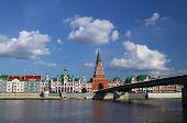 Embankment Bruges and the Spasskaya Tower in Yoshkar-Ola. Russia, Mari El Republic poster