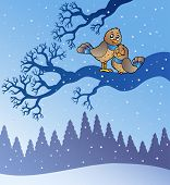 Two cute birds in snowy landscape - vector illustration. poster