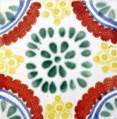 Talavera style ceramic Mexican tile used in decor poster