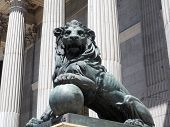 Lion Statue Entrance  Congress Of The Deputies Madrid Spain Government Buildng poster