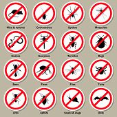 Pest and insect control icons set. Vector EPS10 illustration. poster