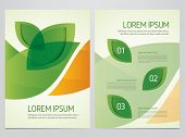 Brochure, annual report, flyer, magazine cover green and orange vector template. Modern green leaf, environment design. poster