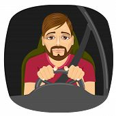 portrait of sleepy male driver dozing off while driving poster