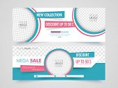 Mega Sale with discount offer, Creative website header or banner set with space to add image. poster