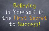 Motivational saying that we should believe in who we are and that leads to success poster
