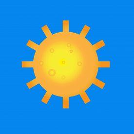 Sun logo icon with long shadow. Sun, summer, nature, sky