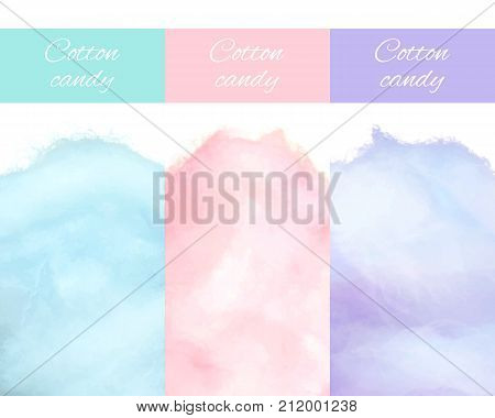 Cherry bilberry and blueberry cotton candies vector illustrations closeup isolated on white. Sweet tasty desserts for children in graphic design