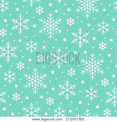 Christmas, new year seamless pattern, snowflakes line illustration. Vector icons of winter holidays, cold season snow flakes, snowfall. Celebration party dark white repeated background.