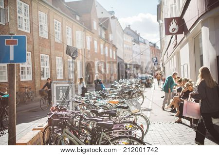 Copenhagen/Denmark- September 4th 2016:  Famous for its biking culture and now officially the first Bike City in the World,bikes in Copenhagen are important means of transportation