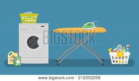 Laundry room. There is a washing machine, yellow ironing board, green iron, a basket with linens in the picture. There is also a basket with detergents here. Vector illustration.